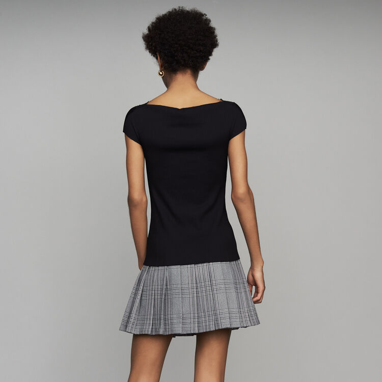 Pleated top with lace : See all color Black 210