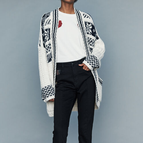 Oversize jacket in jacquard knit : Knitwear color Ecru
