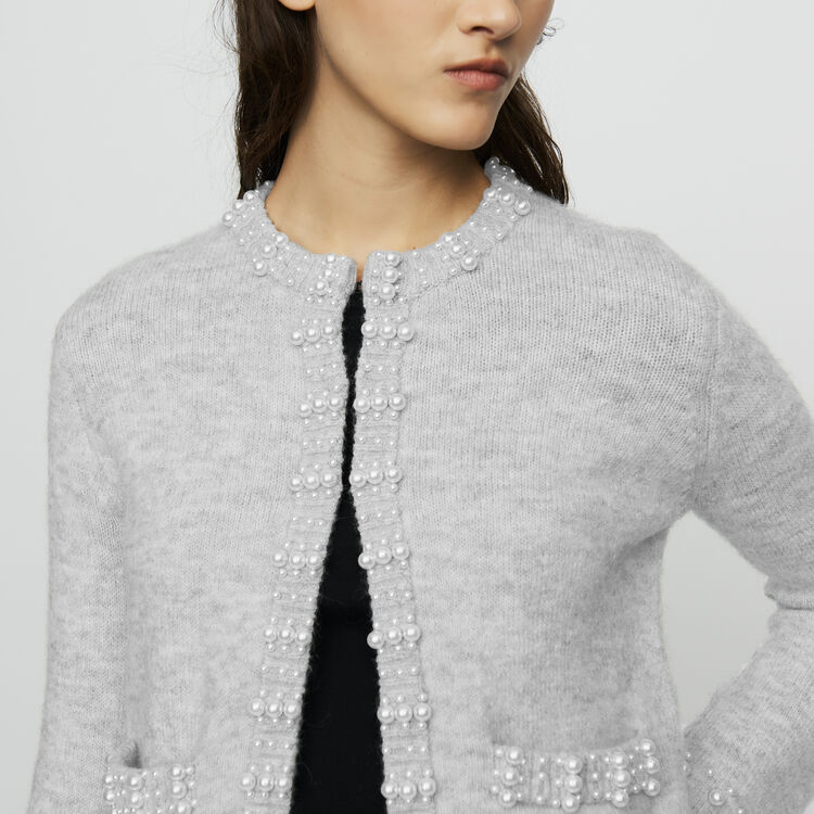 Wool-blend cardigan with pearls : Ready to wear color Grey