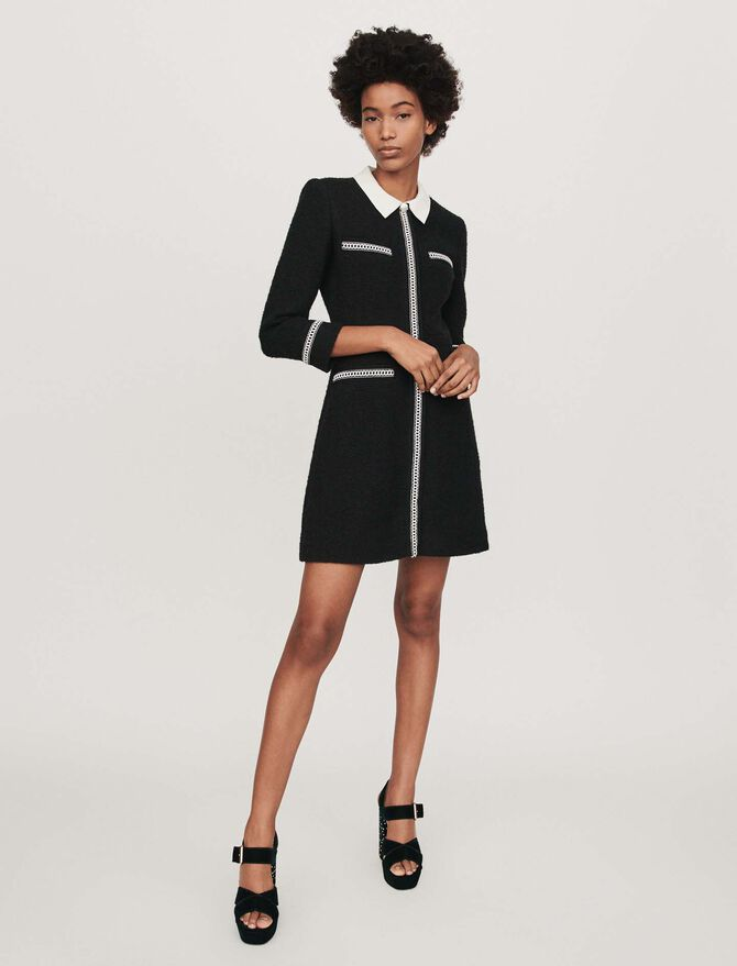 Tweed-style contrast dress - SoldesBE_30 - MAJE