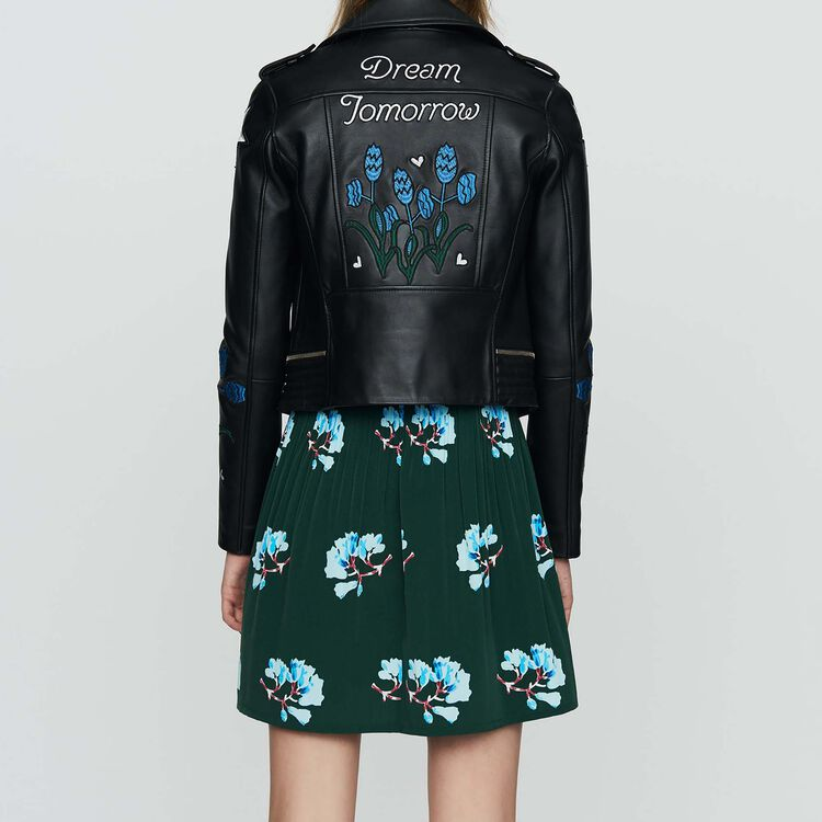 Embroidered leather jacket : Ready to wear color BLACK