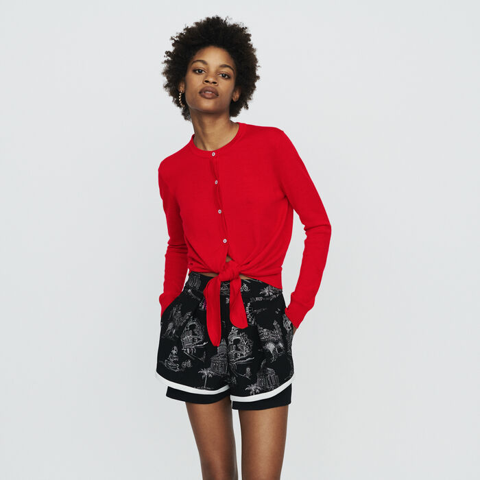 Knotted cardigan : Knitwear color Red