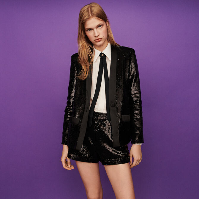 Sequin and satin jacket -  - MAJE