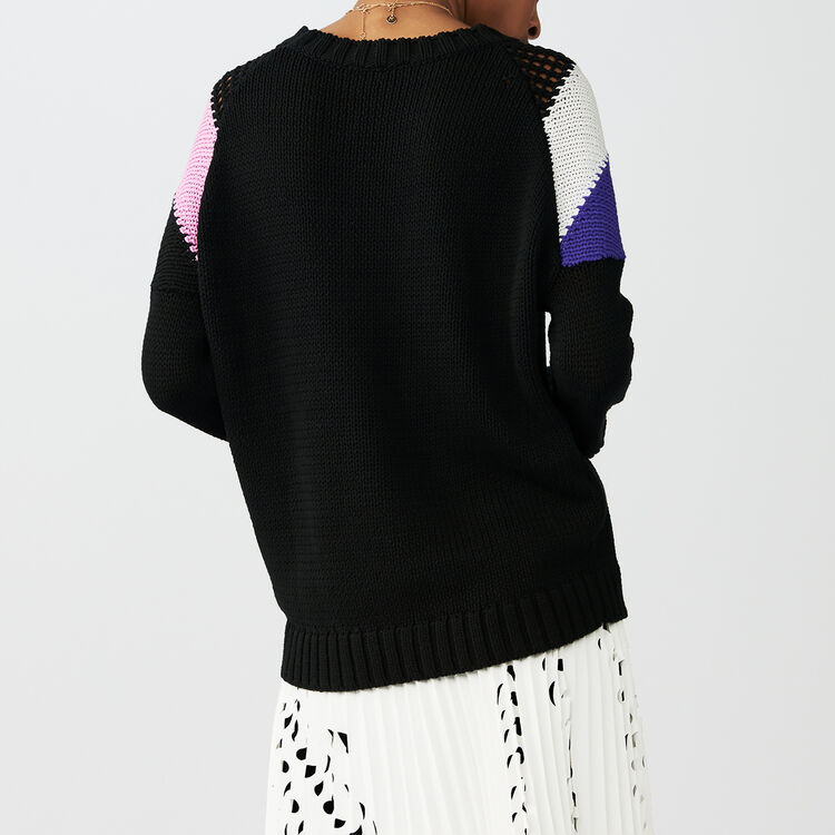 Oversized sweater with details : Knitwear color Black 210