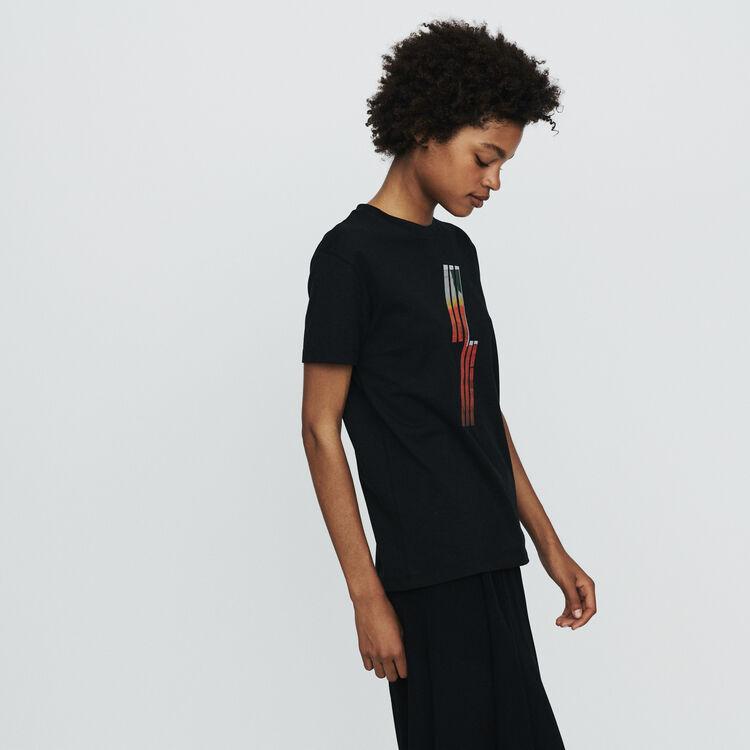 Silkscreen embroidered T-shirt : T-Shirts color Black 210
