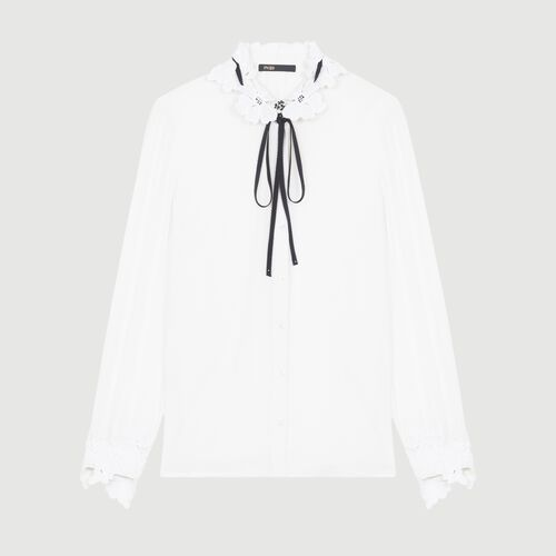 Blouse with guipure detailing - Shirts - MAJE