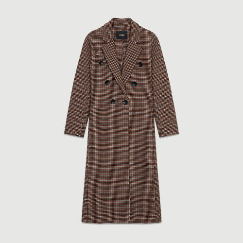 Double-face wool coat in houndstooth : Coats color CARREAUX