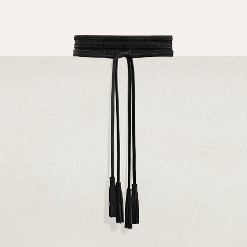 Wide suede belt : Other accessories color Black 210