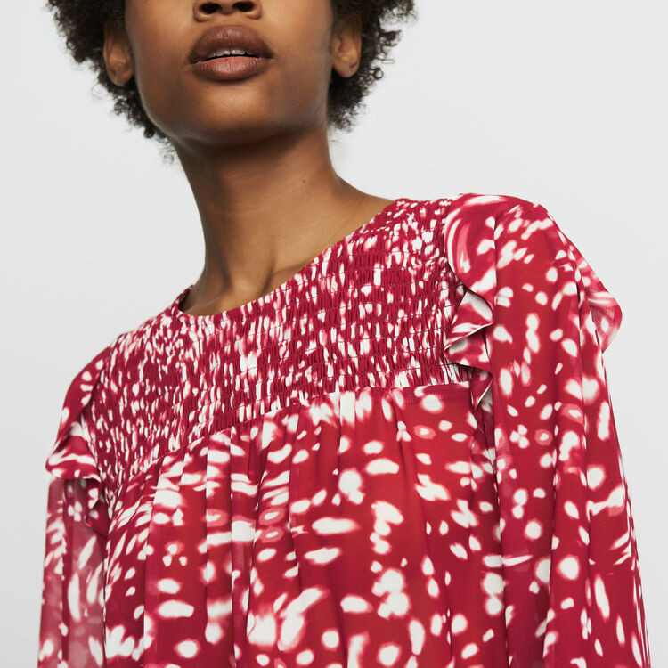 Ruffled printed blouse : Ready to wear color PRINTED