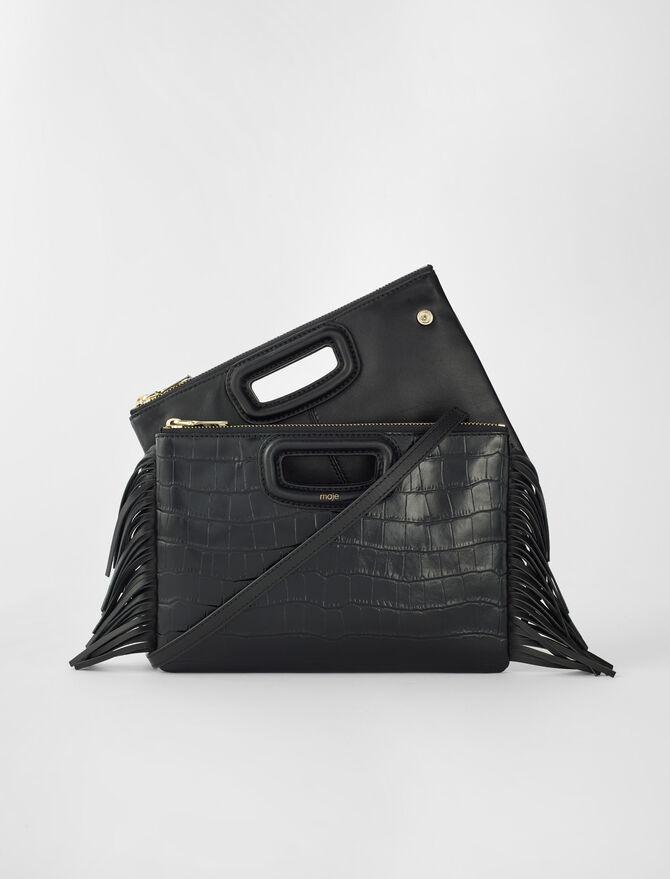 Crocodile effect-leather M Duo clutch -  - MAJE