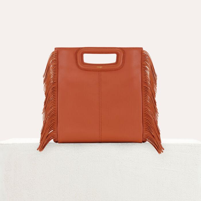 M bag with fringes : M bag color Terracota