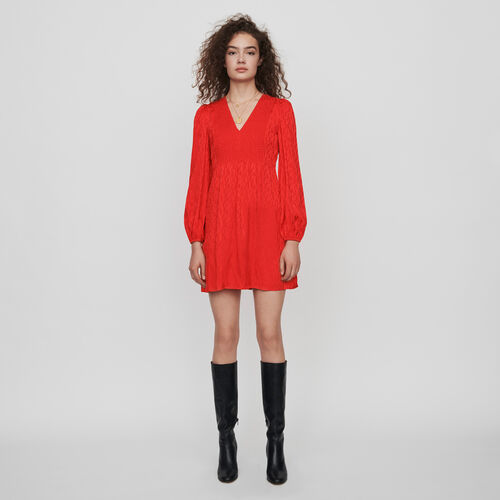 Jacquard satin smock dress : Dresses color Red
