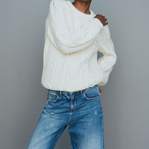 Braided knit sweater : Knitwear color ECRU