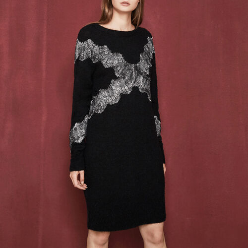 Knit dress with inlaid lace : Dresses color Black 210