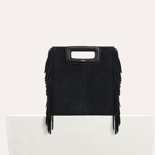 M bag with suede fringes : New Collection color Black 210