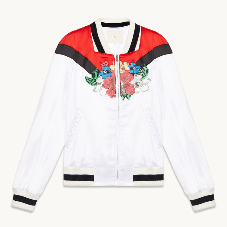 Embroidered satin varsity jacket : See all color WHITE