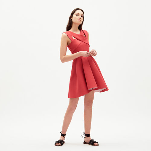 Dress with crossed low neck : Dresses color Poppy