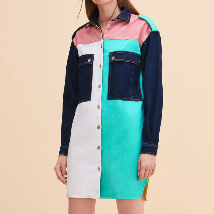 Multicoloured denim shirt dress -  - MAJE
