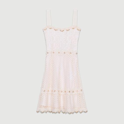 Long dress in mesh : Dresses color Pink
