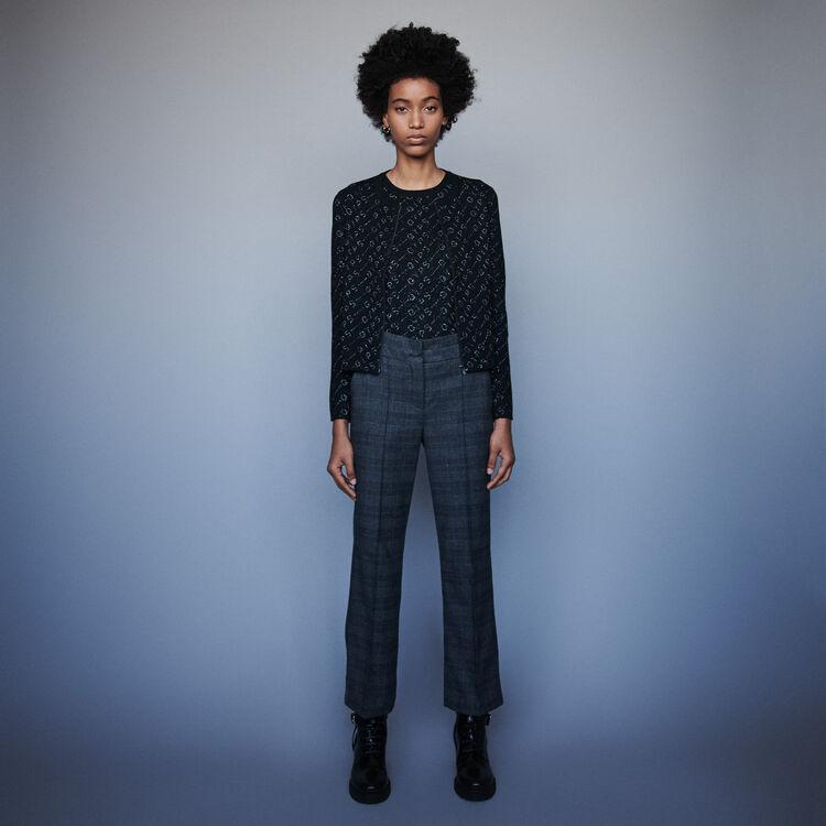 Lurex jacquard cardigan : Pullovers & Cardigans color Black