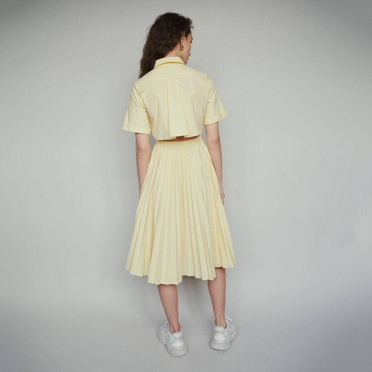 Pleated shirt dress with back opening : Dresses color Blue