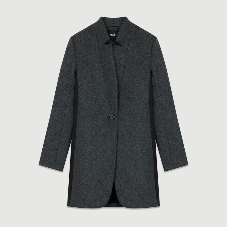 Straight coat with satin borders : Coats color