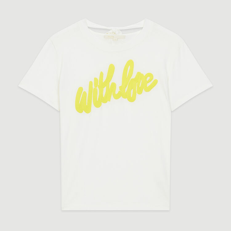 Tee-shirt with embroidered slogan : T-Shirts color White