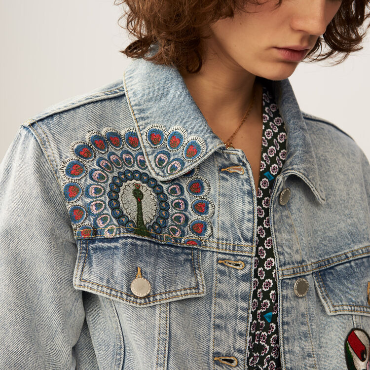 Embroidered denim jacket : Jackets color Denim