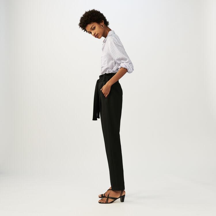 Low-slung belted pants : Office girl color Black 210