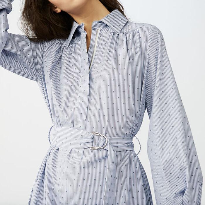 Long blouse-dress with buckle belt : Blue color Blue