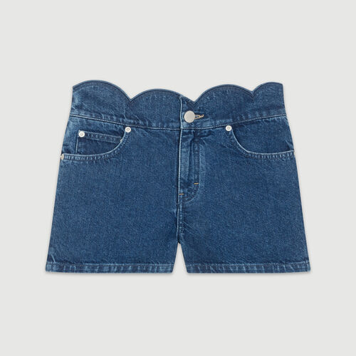 Jean shorts with novelty seaming : Skirts & Shorts color Denim