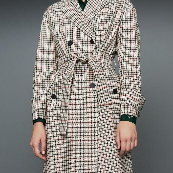 Straight plaid coat : Coats color CARREAUX