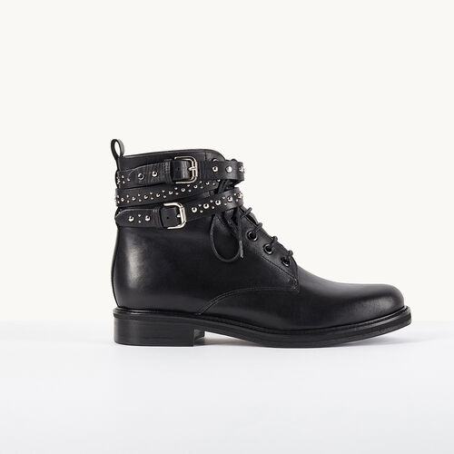 Leather ankle boots with studded straps : Accessories color BLACK