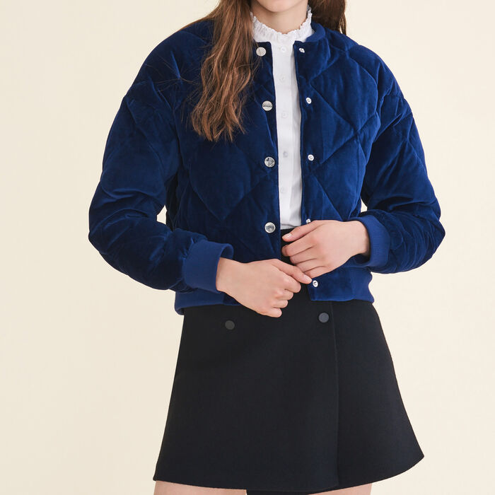 Cropped velvet bomber jacket -  - MAJE