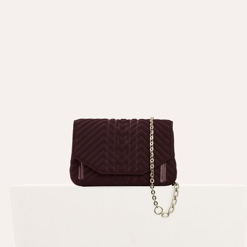 Quilted velvet evening bag : Discount color BORDEAUX