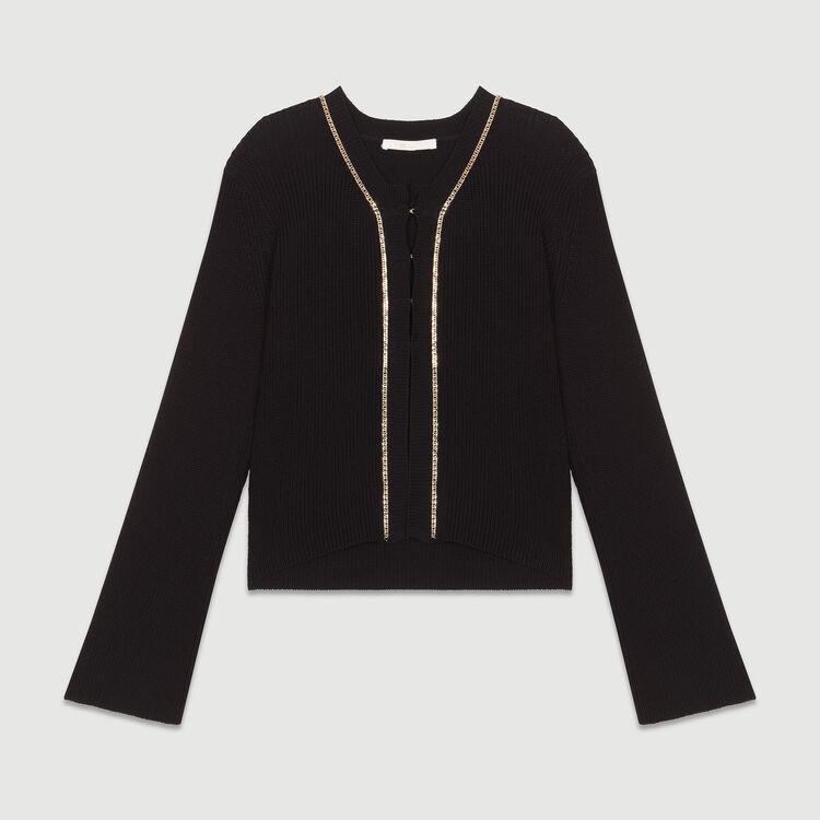 Long sleeves cardigan : Knitwear color Black 210