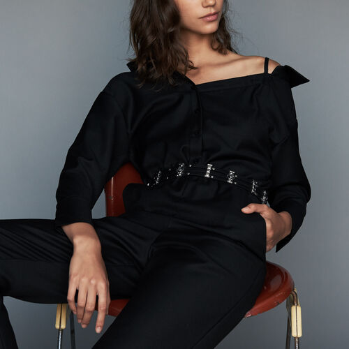 Cold shoulder jumpsuit : Ready to wear color Black 210