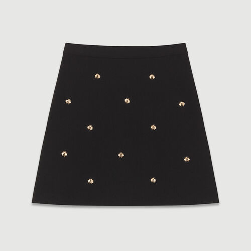 Skirt with embroidered bees : Skirts & Shorts color Black 210