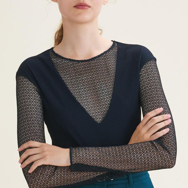 Openwork knit top : Tops color Black 210