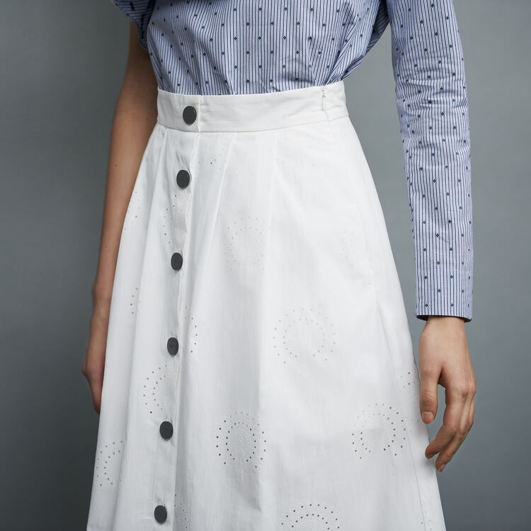 Long embroidered skirt : Cotton color White