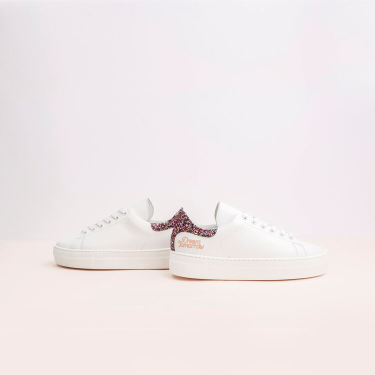 Leather sneakers with sequin detail : Sneakers color White