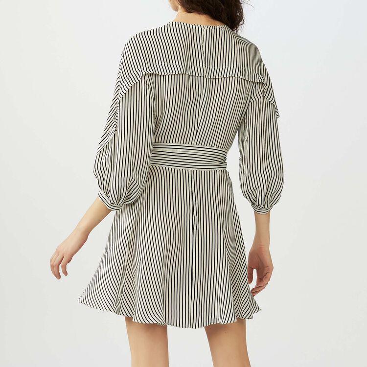 Striped dress with smocked waist : Dresses color Stripe