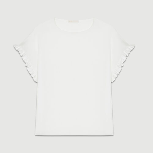 Oversized t-shirt with flounce sleeves : T-Shirts color White