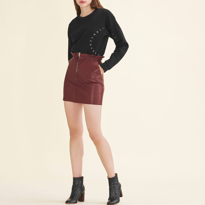 Zipped leather skirt -  - MAJE
