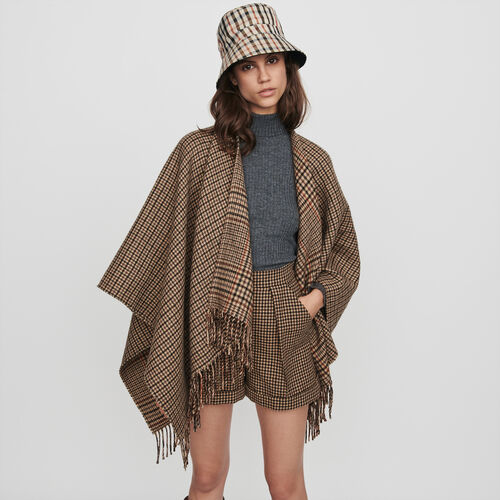 Whool-blend poncho : Winter collection color Multico