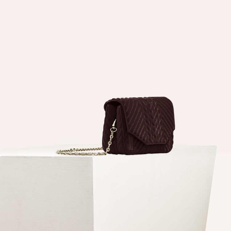 Quilted velvet evening bag : Shop by color BORDEAUX