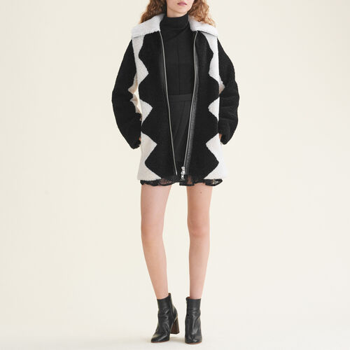 Two-tone sheepskin coat - Coats - MAJE