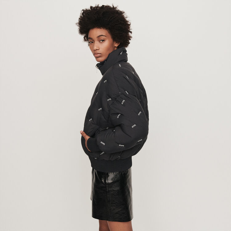 Embroidered cropped puffer : Coats & Jackets color Black