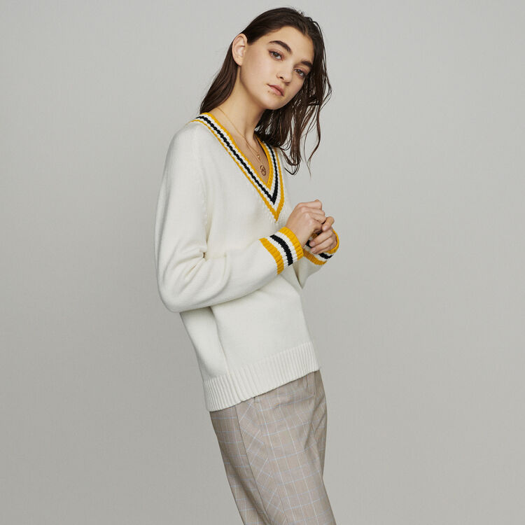Sweater with contrasted bands : Pullovers & Cardigans color Ecru