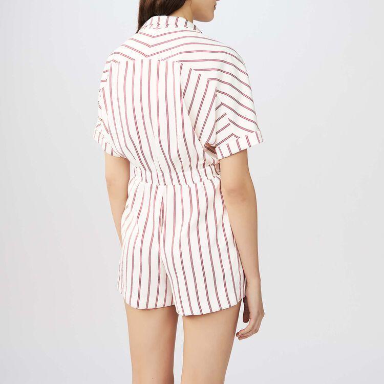 Draped striped romper : Skirts & Shorts color Stripe